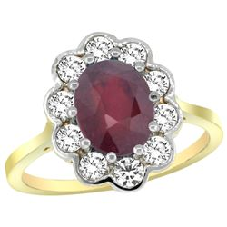 Natural 2.73 ctw Ruby & Diamond Engagement Ring 14K Yellow Gold - REF-83W3K
