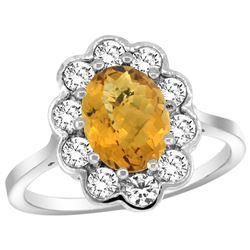 Natural 2.34 ctw Quartz & Diamond Engagement Ring 14K White Gold - REF-80N8G