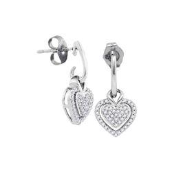 0.20 CTW Diamond Dangle Earrings 10KT White Gold - REF-22H4M