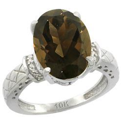 Natural 5.53 ctw Smoky-topaz & Diamond Engagement Ring 14K White Gold - REF-60H3W