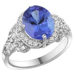 Natural 2.91 ctw tanzanite & Diamond Engagement Ring 14K White Gold - REF-148K7R