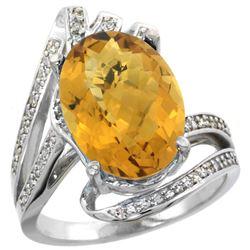 Natural 5.76 ctw quartz & Diamond Engagement Ring 14K White Gold - REF-90H5W