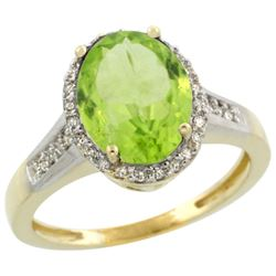 Natural 2.49 ctw Peridot & Diamond Engagement Ring 14K Yellow Gold - REF-46Z6Y