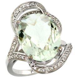 Natural 11.23 ctw green-amethyst & Diamond Engagement Ring 14K White Gold - REF-104R5Z