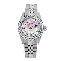 Rolex Pre-owned 26mm Womens Custom Pink MOP Stainless Steel - REF-490N4H