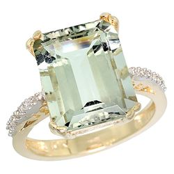 Natural 5.48 ctw amethyst & Diamond Engagement Ring 14K Yellow Gold - REF-51H4W