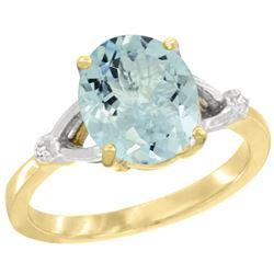 Natural 2.11 ctw Aquamarine & Diamond Engagement Ring 14K Yellow Gold - REF-43A9V