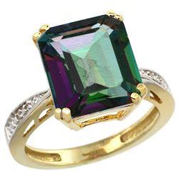 Natural 5.42 ctw Mystic-topaz & Diamond Engagement Ring 10K Yellow Gold - REF-57F3N
