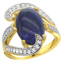 Natural 5.24 ctw lapis-lazuli & Diamond Engagement Ring 14K Yellow Gold - REF-129R4Z
