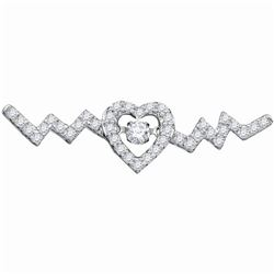 0.33 CTW Diamond Twinkle Moving Solitaire Heartbeat Heart Necklace 10KT White Gold - REF-34H4M