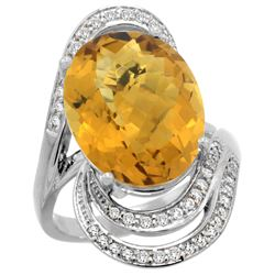 Natural 11.2 ctw quartz & Diamond Engagement Ring 14K White Gold - REF-89M9H