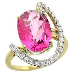 Natural 5.89 ctw Pink-topaz & Diamond Engagement Ring 14K Yellow Gold - REF-91G4M