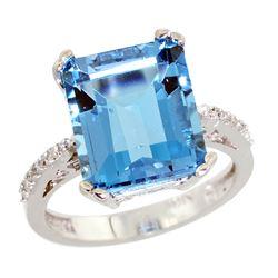 Natural 5.48 ctw Swiss-blue-topaz & Diamond Engagement Ring 14K White Gold - REF-51V4F