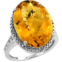 Natural 13.6 ctw Whisky-quartz & Diamond Engagement Ring 14K White Gold - REF-68X4A