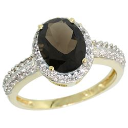 Natural 1.91 ctw Smoky-topaz & Diamond Engagement Ring 14K Yellow Gold - REF-41X3A