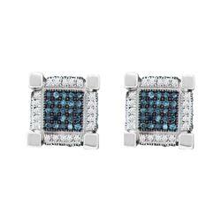 0.79 CTW Mens Blue Color Diamond 3D Cube Square Earrings 10KT White Gold - REF-49F5N