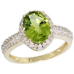 Natural 2.3 ctw Peridot & Diamond Engagement Ring 14K Yellow Gold - REF-41A7V