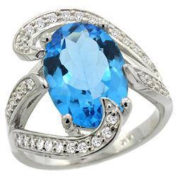 Natural 6.22 ctw swiss-blue-topaz & Diamond Engagement Ring 14K White Gold - REF-134V9F