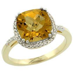 Natural 4.11 ctw Whisky-quartz & Diamond Engagement Ring 14K Yellow Gold - REF-42F9N