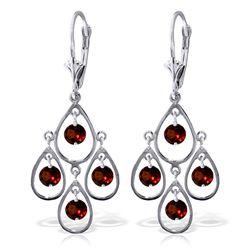 Genuine 2.4 ctw Garnet Earrings Jewelry 14KT White Gold - REF-54T9A