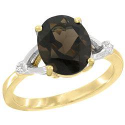 Natural 2.41 ctw Smoky-topaz & Diamond Engagement Ring 10K Yellow Gold - REF-24K6R