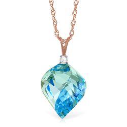 Genuine 13.95 ctw Blue Topaz & Diamond Necklace Jewelry 14KT Rose Gold - REF-48Y3F