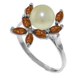 Genuine 2.65 ctw Pearl & Garnet Ring Jewelry 14KT White Gold - REF-28M5T