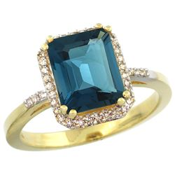 Natural 2.63 ctw London-blue-topaz & Diamond Engagement Ring 10K Yellow Gold - REF-33R6Z
