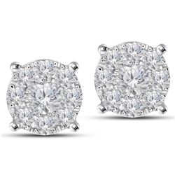 1.4 CTW Diamond Earrings 14K White Gold - REF-127K8W