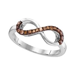0.20 CTW Brown Color Diamond Infinity Ring 10KT White Gold - REF-14W9K