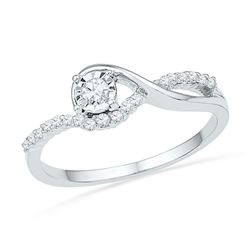 0.16 CTW Diamond Solitaire Bridal Engagement Ring 10KT White Gold - REF-19Y4X