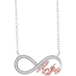 0.10 CTW Diamond Infinity Hope Rose-tone Pendant 10KT White Gold - REF-19M4H