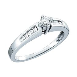 0.25 CTW Diamond Solitaire Bridal Engagement Ring 10KT White Gold - REF-30K2W