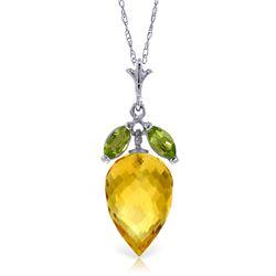 Genuine 10 ctw Citrine & Peridot Necklace Jewelry 14KT White Gold - REF-28Y9F