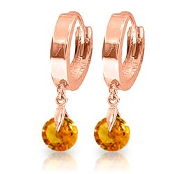 Genuine 1.6 ctw Citrine Earrings Jewelry 14KT Rose Gold - REF-25H9X