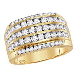 2.35 CTW Mens Diamond Wedding Anniversary Ring 14KT Yellow Gold - REF-194M9H
