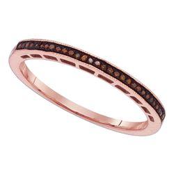 0.07 CTW Red Color Diamond Slender Wedding Anniversary Ring 10KT Rose Gold - REF-13N4F