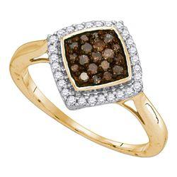 0.33 CTW Cognac-brown Color Diamond Diagonal Ring 10KT Yellow Gold - REF-19N4F