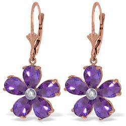 Genuine 4.43 ctw Amethyst & Diamond Earrings Jewelry 14KT Rose Gold - REF-49N8R