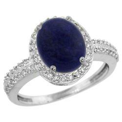 Natural 2.56 ctw Lapis & Diamond Engagement Ring 10K White Gold - REF-30Y5X