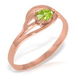 Genuine 0.30 CTW Peridot Ring Jewelry 14KT Rose Gold - REF-30K5V
