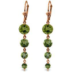 Genuine 7.8 ctw Peridot Earrings Jewelry 14KT Rose Gold - REF-46K3V