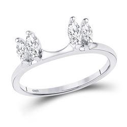 0.50 CTW Oval Diamond Ring 14KT White Gold - REF-56K2W