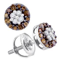 0.33 CTW Cognac-brown Color Diamond Cluster Stud Earrings 10KT White Gold - REF-16K4W