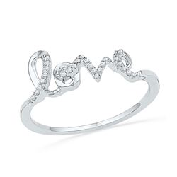 0.08 CTW Diamond Love Ring 10KT White Gold - REF-12W2K