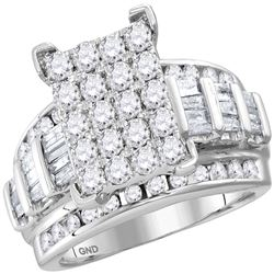 1.96 CTW Diamond Cluster Bridal Engagement Ring 10KT White Gold - REF-137H8M