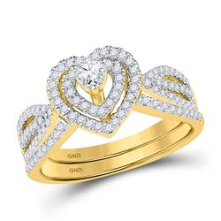 0.63 CTW Diamond Heart Bridal Engagement Ring 10KT Yellow Gold - REF-52X4Y