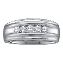 0.50 CTW Mens Channel-set Diamond Single Row Wedding Ring 10KT White Gold - REF-49K5W
