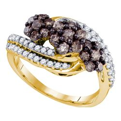 0.92 CTW Cognac-brown Color Diamond Cluster Ring 10KT Yellow Gold - REF-38M9H