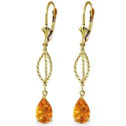 Genuine 3 ctw Citrine Earrings Jewelry 14KT Yellow Gold - REF-45V5W